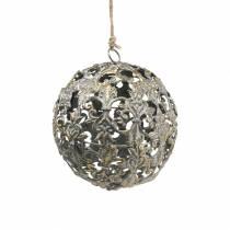 Bola para colgar con adornos aspecto antiguo metal dorado Ø12cm