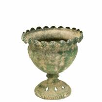 Taza decorativa aspecto antiguo metal verde musgo Ø13cm H14.5cm