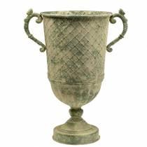 Copa decorativa con patrón de diamantes aspecto antiguo metal verde musgo Ø24.5cm H45cm