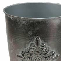 Copa decorativa de metal con adorno gris plata Ø16.5cm H31cm