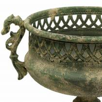 Taza decorativa aspecto antiguo metal verde musgo Ø19cm A35,5cm