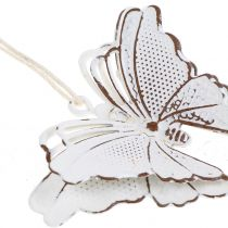 Mariposa de metal para colgar blanco 7cm 6pcs