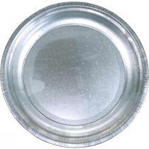 Plato decorativo, base de arreglo, plato de metal plateado, decoración de mesa Ø26cm