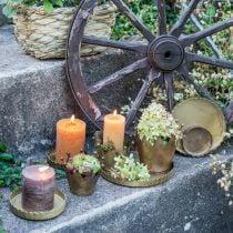 Placa de metal para decorar, decoraciones de mesa, bandeja para velas redonda dorada aspecto antiguo Ø7.5 / 10/12/15 / 18cm H2cm juego de 5