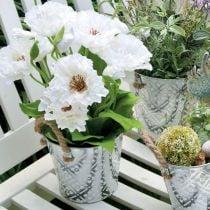 Maceta de metal para plantar, maceta con asas, jardinera con estampado de flores Ø18cm