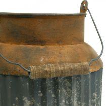 Jarra de leche deco maceta de metal con aspecto vintage, decoración de jardín Al 35 cm