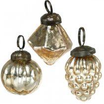 Mini bolas de árbol, diamante / bola / cono, mezcla de tapices de árbol aspecto antiguo Ø3–3.5cm H4.5–5.5cm 9 piezas