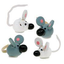 Mini raton de madera blanco gris 2cm 24pcs
