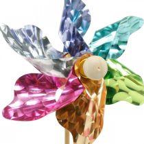 Mini-molinillo, decoración de fiesta, molino de viento en la varilla de colores, decoración para el jardín, tapón de flores Ø8.5cm 12pcs