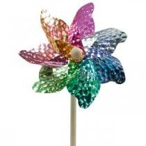 Molino de viento, decoración de verano, molinillo en la varilla de colores, decoración para fiesta de cumpleaños infantil Ø16cm 4pcs