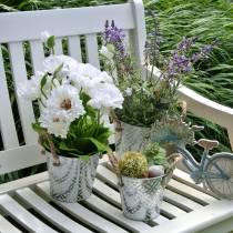 Amapola en una olla de flores de seda blanca decoración floral