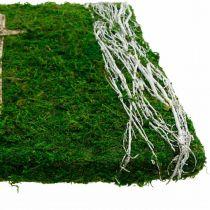 Cuadro musgo enredaderas y cruz para arreglo de tumba verde, blanco 40 × 30cm