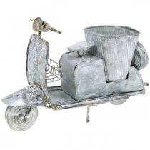 Macetero moto scooter metal vintage blanco lavado 35 × 12 × 23cm