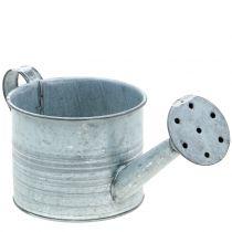 Jardinera regadera galvanizada gris, blanco lavado Al10cm