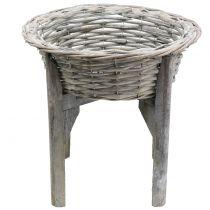 Canasta con soporte de madera gris, blanco lavado Ø40cm