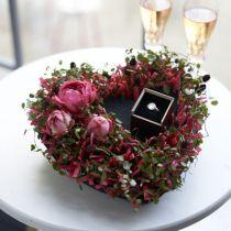 Corazón de espuma floral negro 25.5cm 2pcs