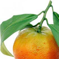 Frutas decorativas, naranjas con hojas, frutas artificiales Al9cm Ø6.5cm 4ud