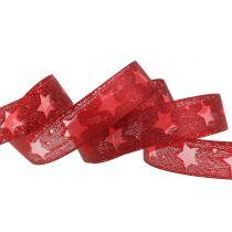 Cinta de organza con motivo estrella rojo 25mm 15m