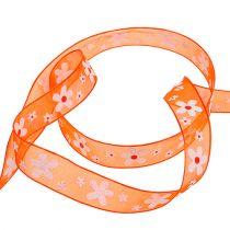 Cinta de organza naranja con motivo floral 15mm 20m