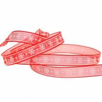 Cinta de organza con copo de nieve rojo 10mm 20m