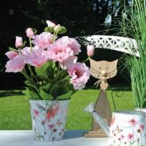 Amapola oriental, flor artificial, amapola en maceta rosa