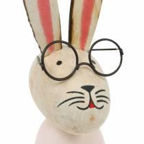 Decoración de Pascua, conejito con gafas, decoración de primavera, conejito de metal, decoración de mesa