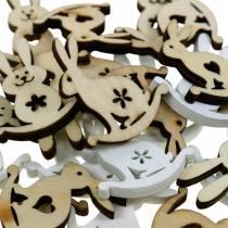 Conejito de decoración de pascua para espolvorear madera blanca, decoración de espolvorear naturaleza conejito de pascua 96 piezas