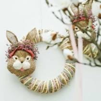 Decoración de Pascua Cabeza de conejo para colgar Paja H32cm