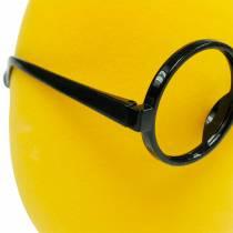 Huevo de Pascua amarillo con gafas, huevo decorativo flocado, decoración de Pascua