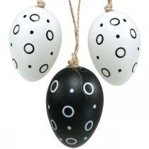 Huevos de Pascua con anillos y puntos, decoración de primavera, decoración de Pascua monocromática 6 piezas