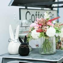 Conejito de Pascua con gafas de cerámica blanca madreperla Al.20cm