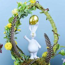 Conejito de Pascua con globo de pie oro blanco Al.18cm 2pcs