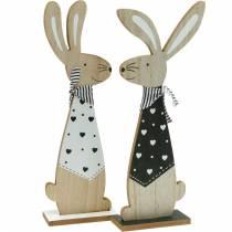 Conejito de Pascua blanco y negro decoración de Pascua conejito de madera figura juego de 2