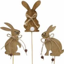Conejito de Pascua en un palillo enchufe decorativo conejitos madera naturaleza decoración de Pascua 24 piezas