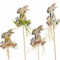 Conejito de Pascua con flor, decoración de conejito para Pascua, conejito en un palo, resorte, enchufe de flor de decoración de madera 12 piezas