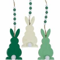 Conejitos de pascua para colgar, adornos primaverales, colgantes, conejitos decorativos verde, blanco 3ud