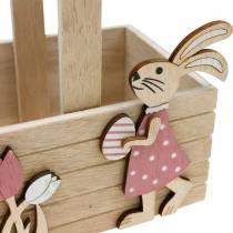 Cesta de Pascua con conejitos Decoración de Pascua para colgar Cesta de Pascua decoración de primavera 2 piezas