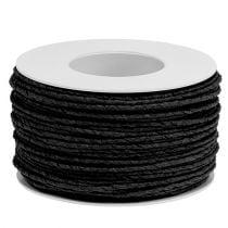Cordón de papel enrollado en alambre Ø2mm 100m negro