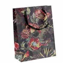 Bolsa de regalo flores oro 18cm x 8cm H24cm