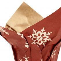 Bote de papel con copos de nieve rojo-blanco Ø6cm 12pcs