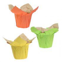 Macetas de papel verde, naranja, amarillo Ø10cm 12pcs