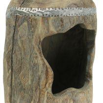 Escultura decorativa madera de paulonia Ø15cm H39cm