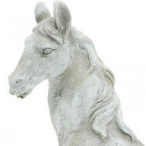Busto de cabeza de caballo figura decorativa caballo de cerámica blanco, gris H31cm
