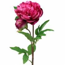 Flor artificial de peonía con flor y capullo púrpura magenta 68cm
