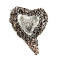 Corazón de planta hecho de conos 29cm x 20cm encalados 2pcs