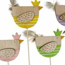 Enchufe de planta pollo decoración colorida enchufe gallina de madera decoración de Pascua 14 piezas
