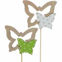 Enchufe de planta mariposa en palo madera primavera decoración 16 piezas