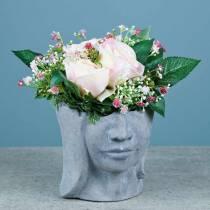 Busto de cabeza de plantación de hormigón para plantar gris A14,5cm 2 piezas