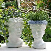 Cabeza de planta busto mujer florero de cerámica blanco maceta H22.5cm