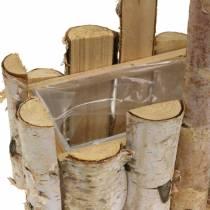 Cesta de siembra de ramas de abedul con mango 24x14.5cm H25.5cm